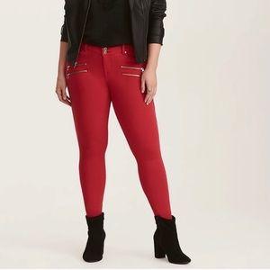 Torrid Red Multi Zip Jean Leggings